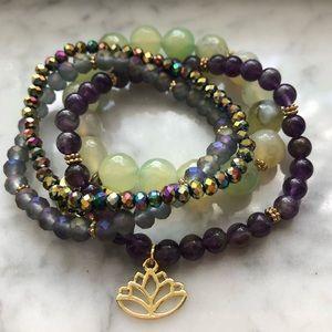 Jewelry - Zen AF gold lotus glass bead bracelet set of 4